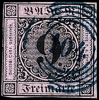 9 Kr. Black on antique pink centric cancellation with blue five ring stamp