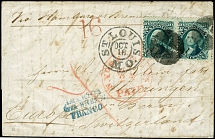 1867, Washington 10 c. green, horizontal pair tied by cork cancel to entire
