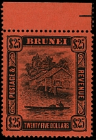 Brunei, 1910, View of Brunei River, $25 black on red paper, the