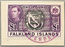 1945, 1 £, black and violet (SG 163), on piece with violet cancel SOUTH GEORGIA,