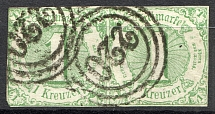 1859-61 Thurn und Taxis Germany Pair 1 Kr (Cancelled)