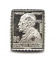 1928 France 10 Fr (Sterling Silver Miniature, Greatest Stamps of The World)