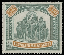 FEDERATED MALAY STATES: 1909, Elephants, $25 green and orange, watermark Multiple Crown CA, nicely centered example with bold colors and intact perforation, full OG