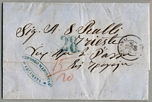 1866, folded letter from CALAMATA via ATHEN to TRIEST, taxed with 15+20 lepta