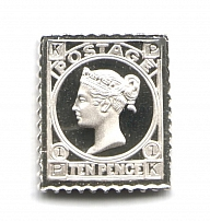 1865 Great Britain 10 P(Sterling Silver Miniature, Greatest Stamps of The World)