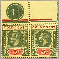 1913-21, 5 s., green and red/pale yellow, Die II, pair from top margin with plat