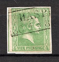 1858 Prussia Germany 4 Pf (CV $60, Cancelled)