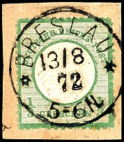 1 / 3 Gr. Dark green, with centric clear single circle postmark