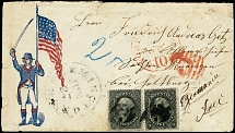 1861, Washington 12 c. black, two single stamps tied by black grid cancel to