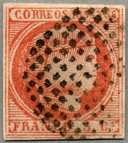 1855, 5 C., carmine, used, second Sperati FORGERY (C of Correos is curved,