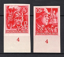 1945 Third Reich Last Issue, Germany (Imperforated, Control Numbers `4`, Signed, Full Set, MNH)