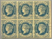 1862, 2 cu., blue on yellowish paper, block of (6), ex postal archive, sheet reg