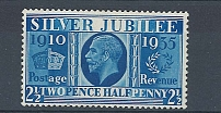 GB 1935 Silver Jubilee 2½d Prussian blue vf mint, minor imperfection, tiny mark on perf at base sg35