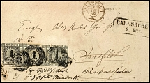 1 Kr. In cold print, horizontal strip of three on correctly franked double