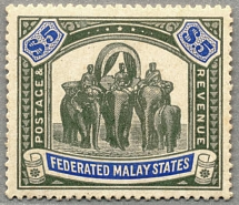 1904, 5 $, green and blue, LPOG, exceedingly rich colours and very well