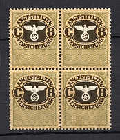 `8` Employee Insurance Revenue Stamps, Germany (Block of Four, MNH)