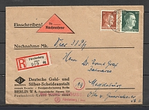 1944 Third Reich registered cover Furstenberg-Magdeburg