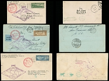 United States May 18-June 6, 1930, Zeppelin stamps on 1st SAF card and 2 covers