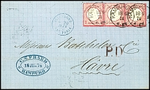 1 Gr. Carmine, large shield, horizontal strip of three as properly franked