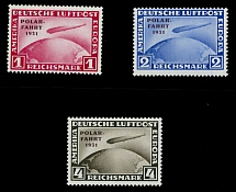 Germany 1931, Zeppelin North Pole Flight, 1m, 2m and 4m, complete set, LH