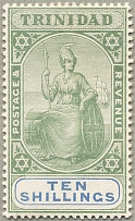 1896, 10 s., green and ultramarine, wmk Crown over CA, perf. 14, MH, perfectly c