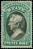 State: 1873, William H.Seward 20 $ green and black, unused, well centered, very