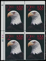 1991, White Headed Eagle, $2.90 multicolored, plate No. A8468 left margin block of four with strong shift of horizontal perforation, full OG, NH