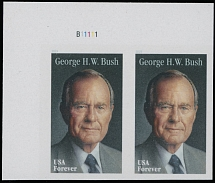 2019, President George H. W. Bush, (55c) multicolored, self-adhesive top left corner sheet margin horizontal pair of ''Forever'' stamps with die cutting omitted, plate No.11111, NH