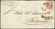 "POSTAL STATIONERY: 1867, Envelope 5 kr. used from ""PEST 4.4.68"" with double"