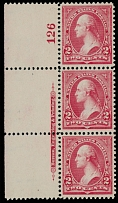 1895, Washington, 2c carmine, type II, left sheet margin plate No.126 vertical strip of three, selvage inscription of type IV