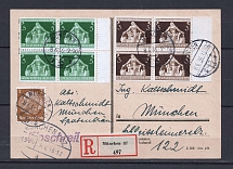1936 Third Reich registered cover to Munich 3pf and 5 pf block of four franking