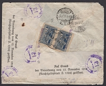 1922. franked with two stamps No. 6.II (revaluation of stamps - BAKINSKOGO GPTO No. 1). A registered closed