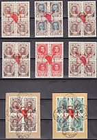 1917 Russian Empire. Lot of 8 postage stamp block. Romanov series. With