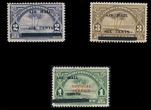 Liberia - Air Post stamps and covers, 1936, Palm Trees, black surcharges ''six