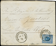 1875, 25 c. blue tied by cds.