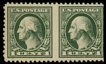1919, Washington, 1c gray green, horizontal pair imperforated vertically with straight edge at right as always exists, fresh color, full OG