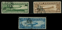 United States 1930, Zeppelin issue, complete set of 3, postally used