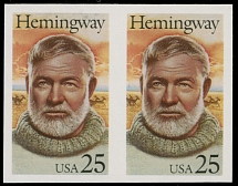 1989, Ernest Hemingway, imperforated proof of 25c multicolored in horizontal pair, left stamp has hairline gum wrinkle, excellent condition, full OG