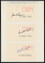 AUTOGRAPHS OF FAMOUS PEOPLE FROM FRANK M. RUDON COLLECTION - UNITED STATES BICENTENNIAL - July 4, 1976, 37 U.S. Senator's signatures on metered postage labels dated ''New York. July 4, 1976''