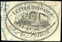 1861, Side-wheeler steamboat black, good margins on three sides, just touched