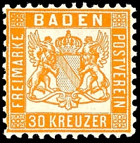 30 kreuzer coat of arms dark-yellowish-orange, in perfect condition mint never