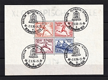 1936 Third Reich, Germany (Souvenir Sheet Mi. 6, Special Commemorative Cancellation BERLIN, CV $85)