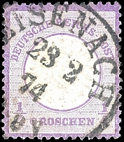 1 / 4 Gr. Violet, known missing part of the embossing left at the bottom of
