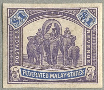 1904, 1 $, purple & blue, imperforated, wmk Multi Crown CA sideways, COLOUR PROO