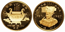 PRC 1987-89, Gods, set of 4 proof gold medals of ¼ oz each, AGW 1 oz
