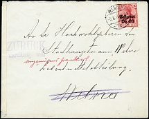 "1916, Germania 10 pfg. tied by cds. ""WILNA 3.8."" to under franking cover,"