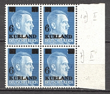 1945 Germany Occupation of Kurland Block of Four (Small `6`, CV $110, MNH)