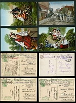 Western Ukraine, GROUP OF MILITARY POSTCARDS: 1914-17, 11 color PPC, various PO