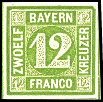 12 kreuzer dark yellow green, on all sides full to wide margins and having