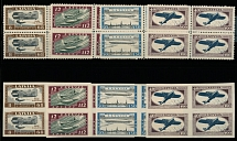 Latvia 1933, Airplanes and Zeppelin, perf and imperf sets of 4, blocks of four